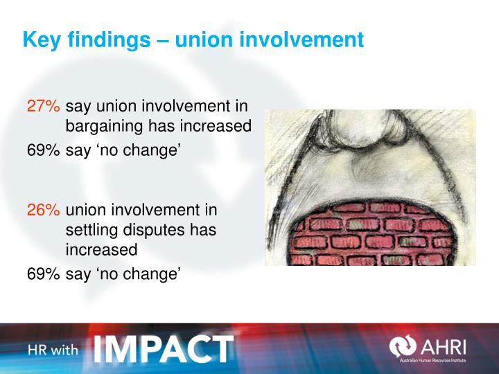 Key findings – union involvement