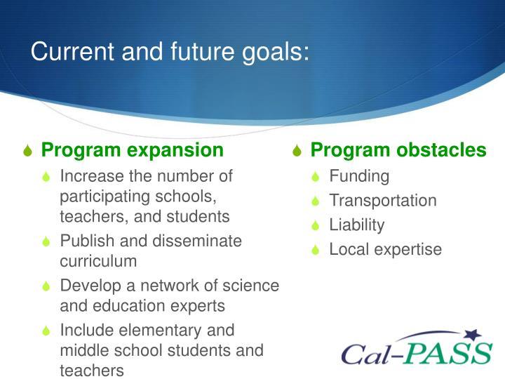 Current and future goals: