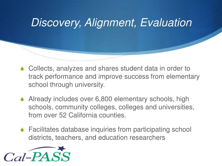 Discovery, Alignment, Evaluation