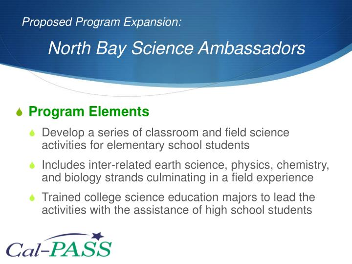 Proposed Program Expansion: