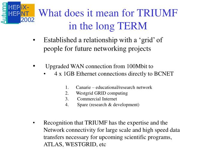 What does it mean for TRIUMF