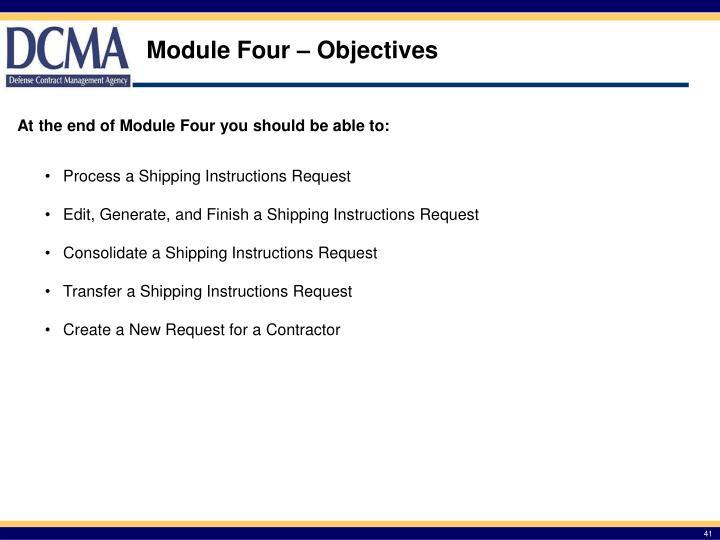 Module Four – Objectives
