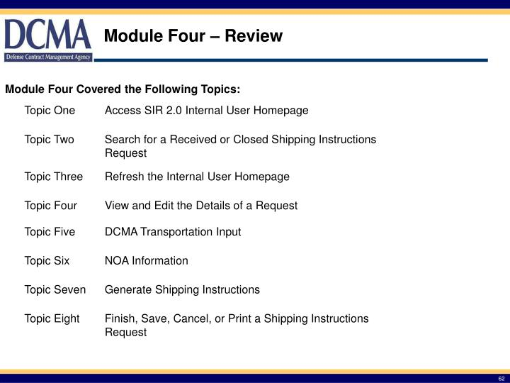 Module Four – Review