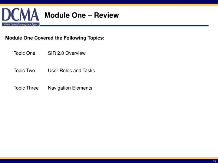 Module One – Review