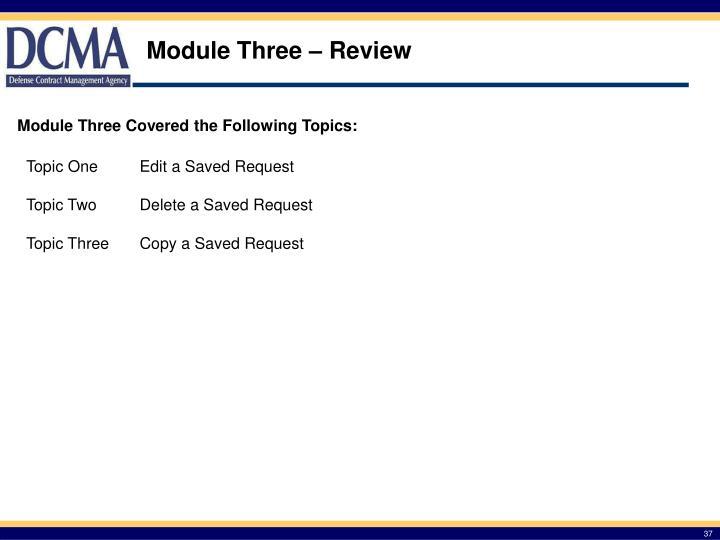 Module Three – Review