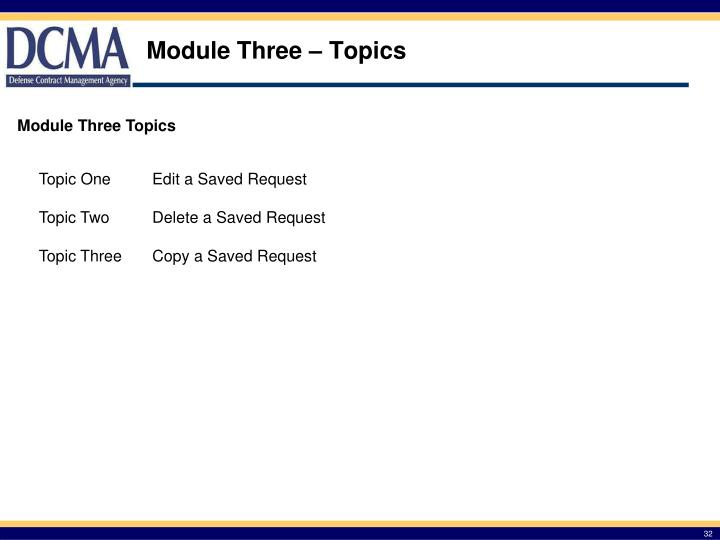 Module Three – Topics