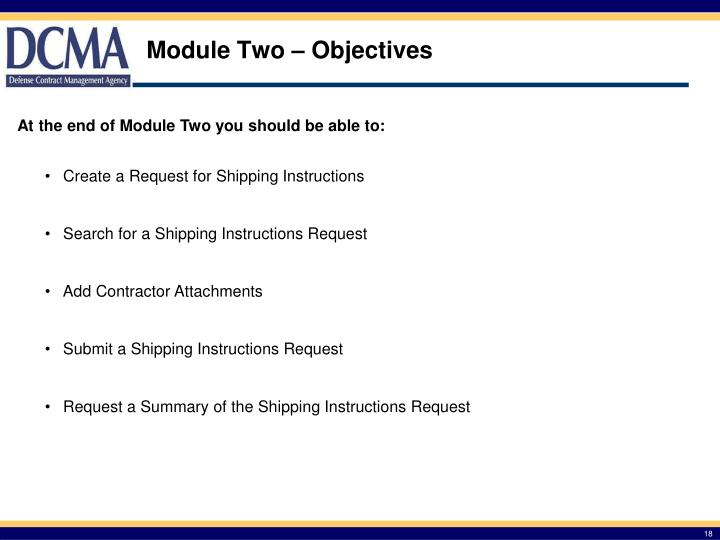 Module Two – Objectives