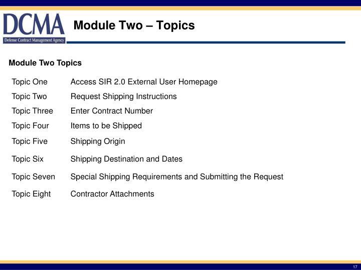 Module Two – Topics