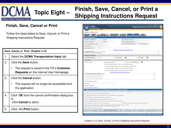 Finish, Save, Cancel, or Print a Shipping Instructions Request