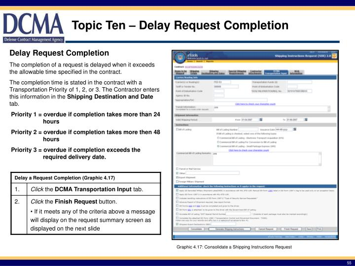 Topic Ten – Delay Request Completion
