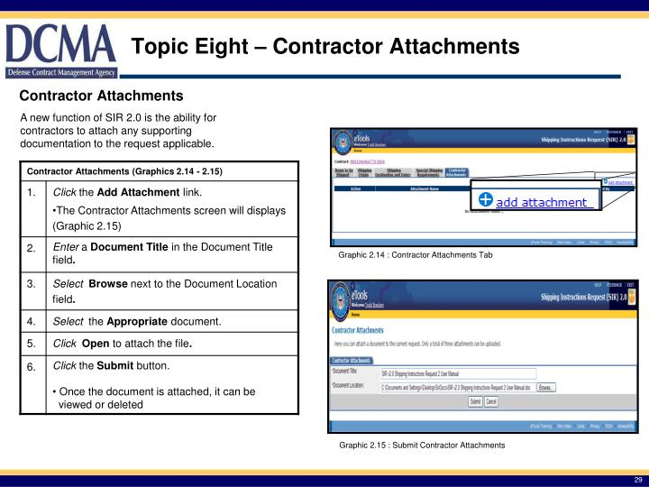 Topic Eight – Contractor Attachments