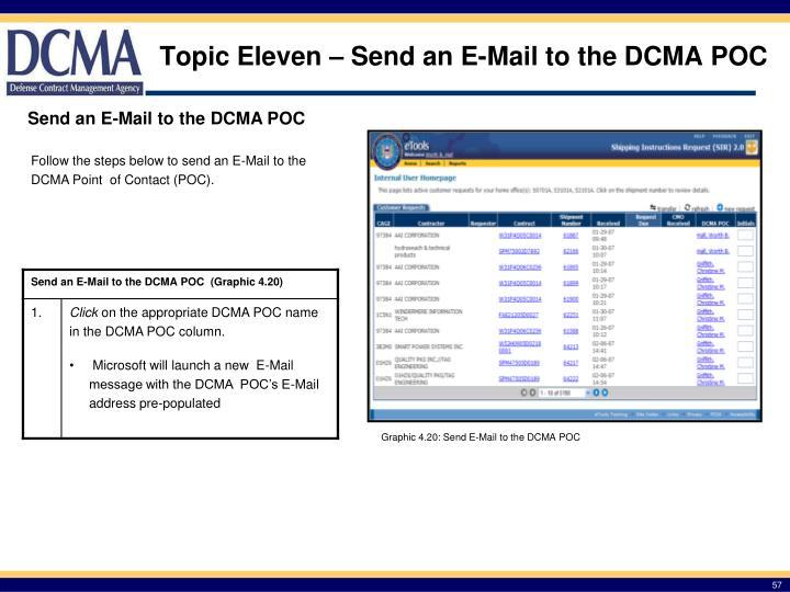 Topic Eleven – Send an E-Mail to the DCMA POC