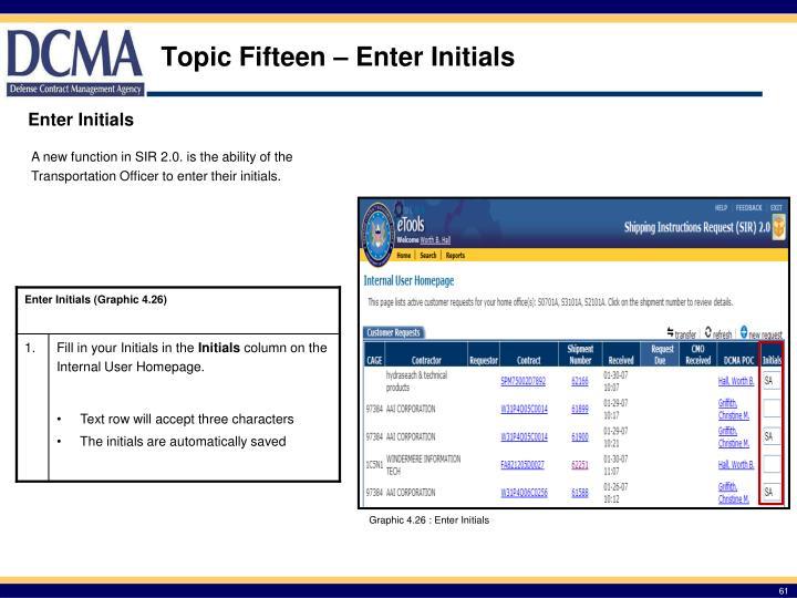 Topic Fifteen – Enter Initials