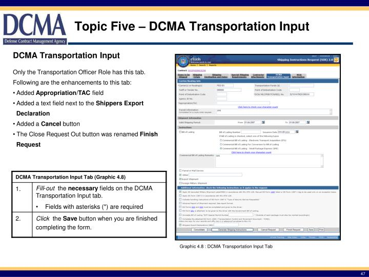 Topic Five – DCMA Transportation Input