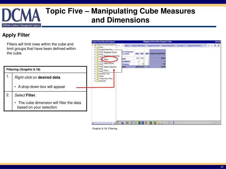 Topic Five – Manipulating Cube Measures