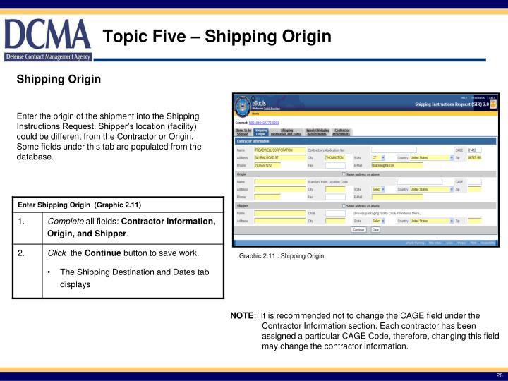 Topic Five – Shipping Origin