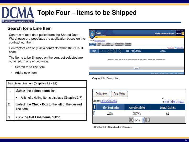 Topic Four – Items to be Shipped