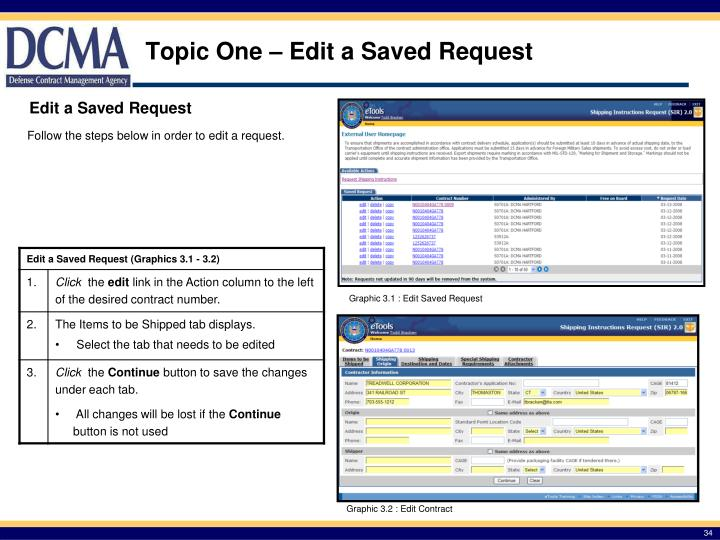 Topic One – Edit a Saved Request