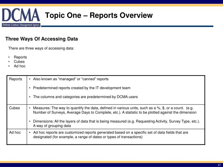 Topic One – Reports Overview