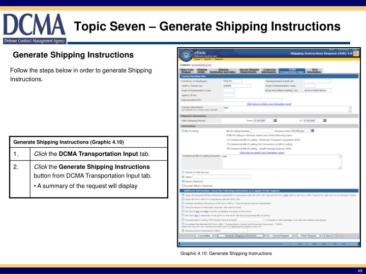 Topic Seven – Generate Shipping Instructions
