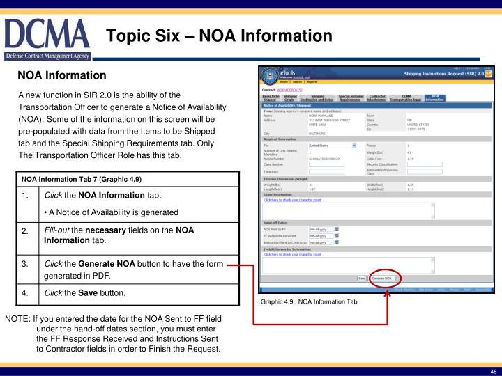 Topic Six – NOA Information