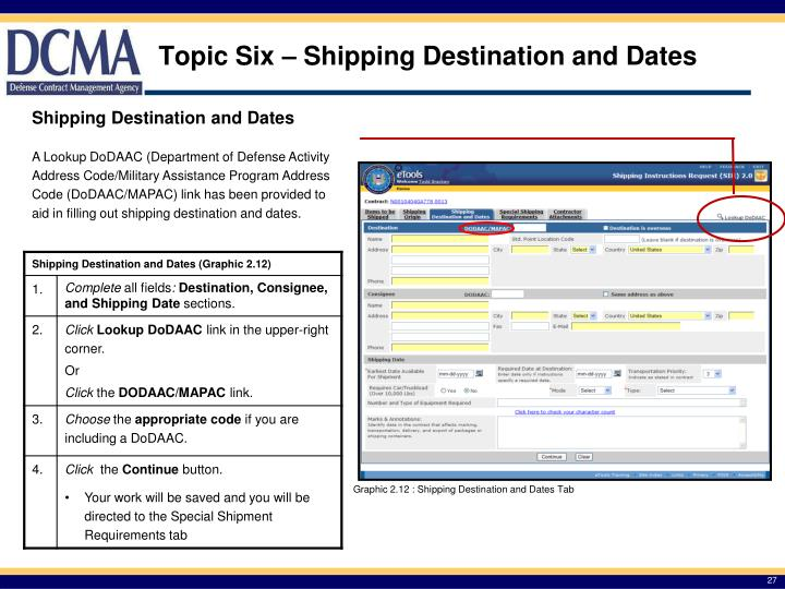 Topic Six – Shipping Destination and Dates