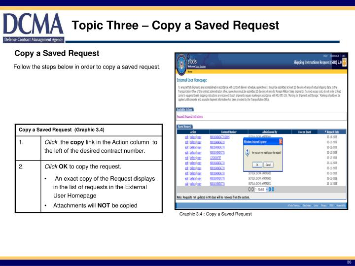 Topic Three – Copy a Saved Request