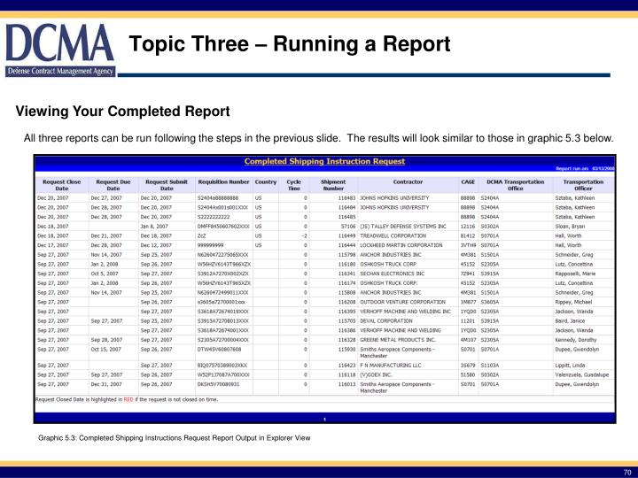 Topic Three – Running a Report