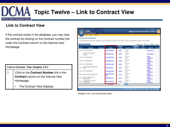 Topic Twelve – Link to Contract View