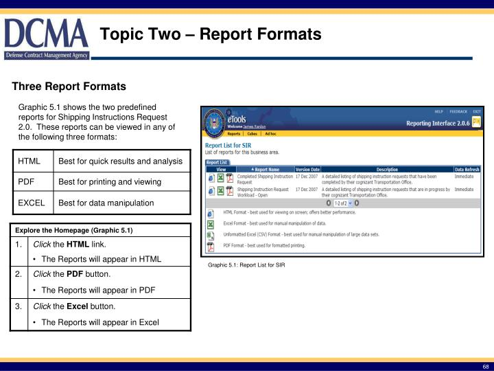 Topic Two – Report Formats