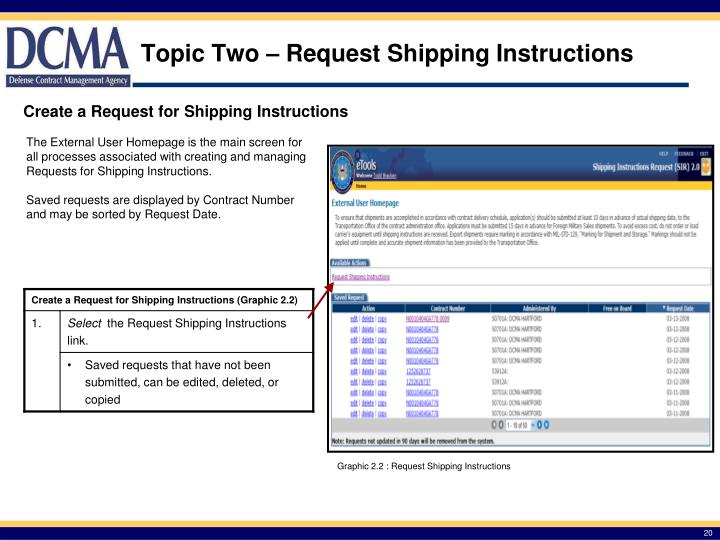 Topic Two – Request Shipping Instructions