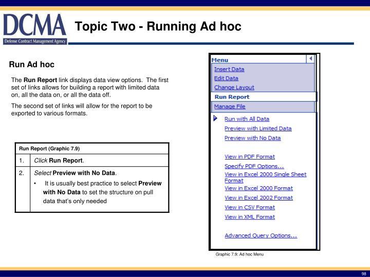 Topic Two - Running Ad hoc