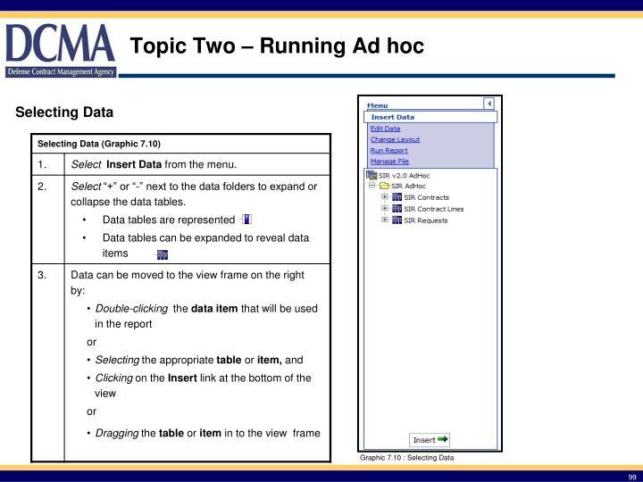 Topic Two – Running Ad hoc