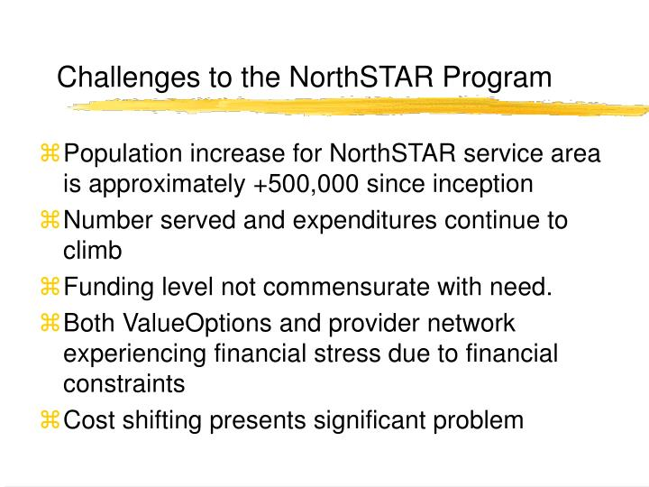 Challenges to the NorthSTAR Program