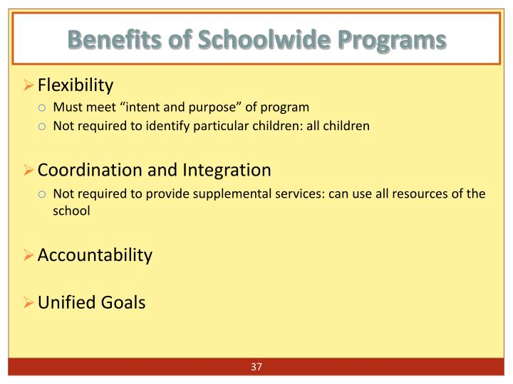 Benefits of Schoolwide Programs