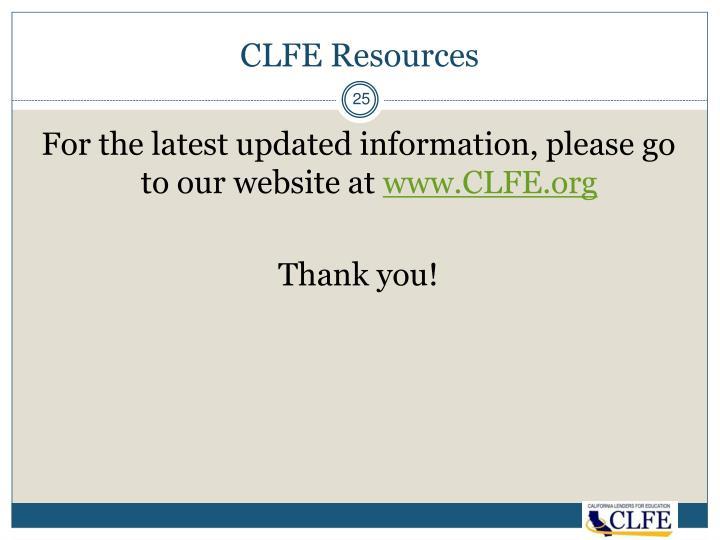CLFE Resources