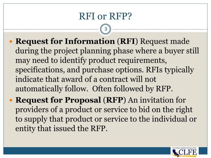 RFI or RFP?