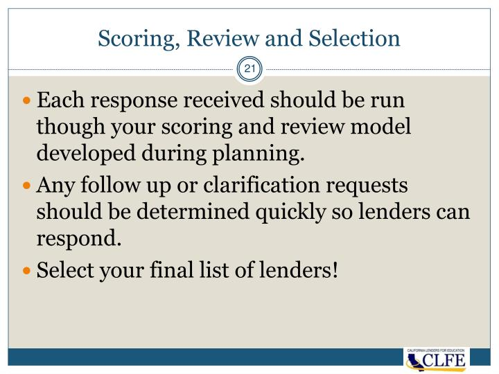 Scoring, Review and Selection