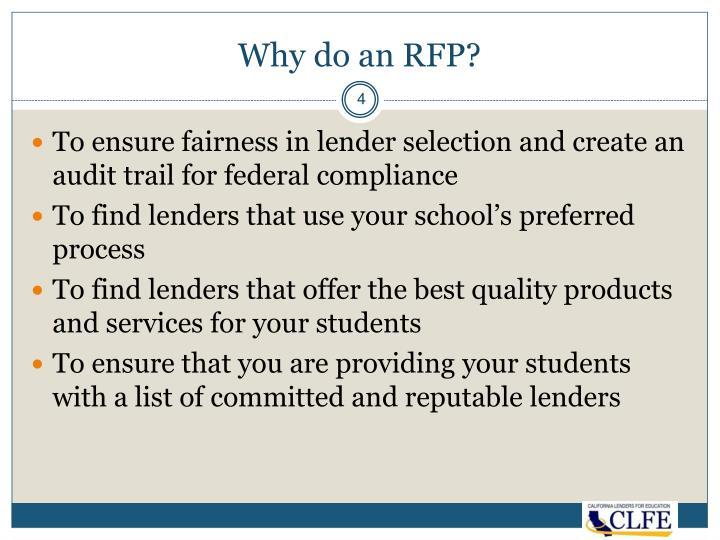Why do an RFP?