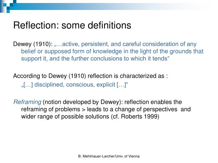Reflection: some definitions