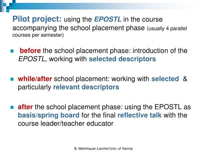Pilot project: