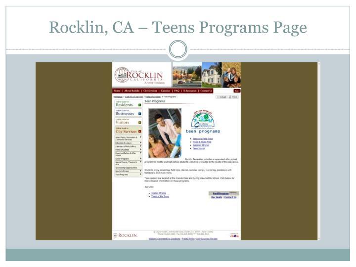 Rocklin, CA – Teens Programs Page