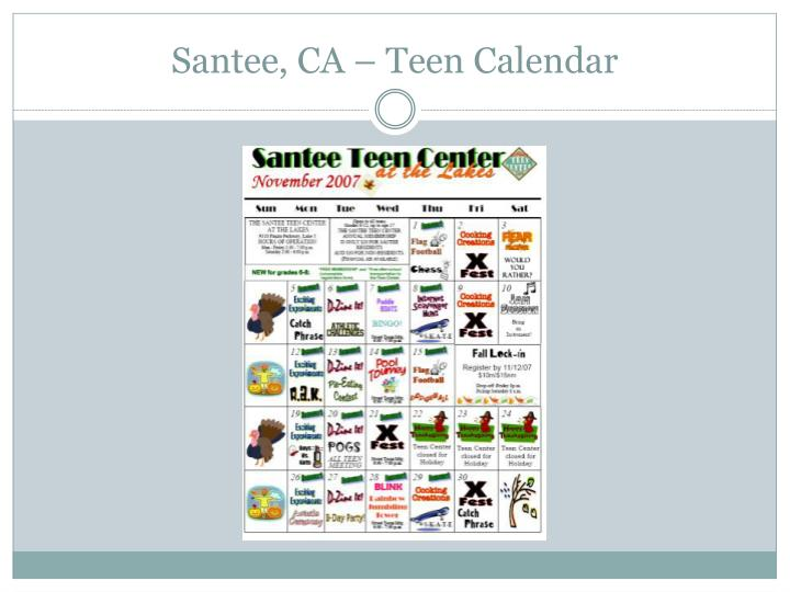 Santee, CA – Teen Calendar