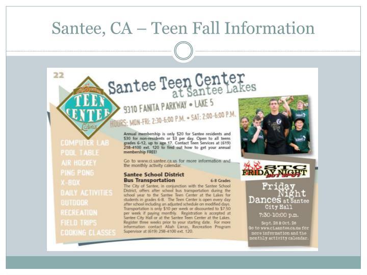 Santee, CA – Teen Fall Information