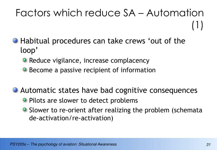 Factors which reduce SA – Automation (1)