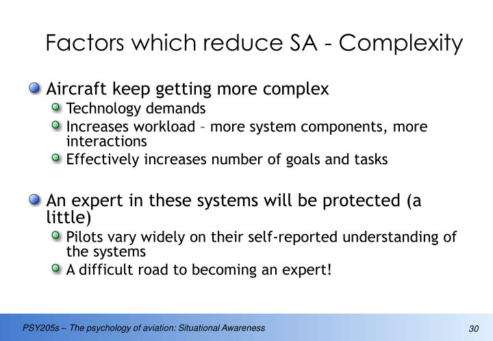 Factors which reduce SA - Complexity