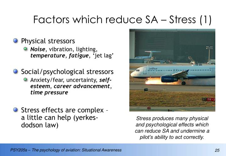 Factors which reduce SA – Stress (1)