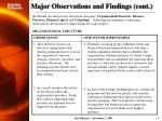 major observations and findings cont