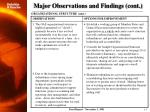 major observations and findings cont1