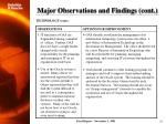 major observations and findings cont12